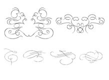 Collection of calligraphic ornaments Stock Image
