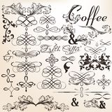Collection of calligraphic vector decorative elements in vintage Stock Photo