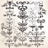 Collection of calligraphic vintage vector design elements for de Stock Photography