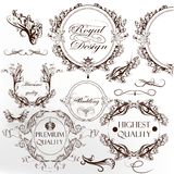 Collection of calligraphic vintage vector elements with wreath Stock Photos