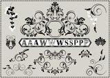 Collection of calligraphy patterns and letters with ornaments Royalty Free Stock Photo