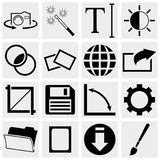 Camera Display Screen symbols and Photography vect. Collection of camera display screen vector icons set isolated on grey background.EPS file available Royalty Free Stock Photo