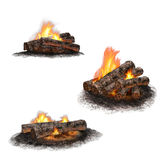Collection of campfires Stock Photography
