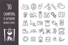 Collection of 30 camping and hiking icons. Camping and hiking equipment doodle icons set. Collection of 30 forest and camping elements in hand drawn style Stock Image