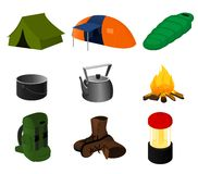 Collection of  camping icons Royalty Free Stock Photography