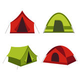 Collection of camping tents  icon. Camping tent  icons  on white background. Set of tourist camp tents   in red and green  colors Royalty Free Stock Photography