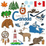 Collection of Canada icons. Fun colorful sketch collection of Canada icons, countries alphabet Royalty Free Stock Images