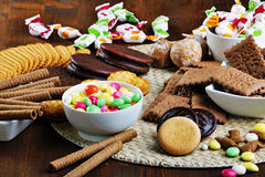 Collection of candies and crackers Royalty Free Stock Photos