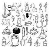 Collection of candles, candles icons,  drawn vector illustration Royalty Free Stock Photos