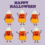 Collection of candy corn character in cartoon style. Happy Halloween concept greeting card, poster. Royalty Free Stock Photos