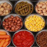 Collection of canned vegetables Stock Photography