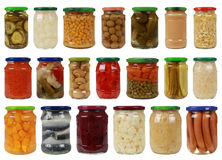 Collection of vegetables in glass jars
