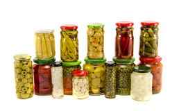 Collection canned vegetables in glass jars Stock Images