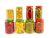 Collection canned vegetables in glass jars Royalty Free Stock Photo