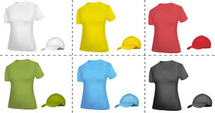 Collection of cap and T-shirt templates (women). Royalty Free Stock Photos