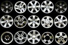 Collection Car Alloy wheel discs Stock Photography