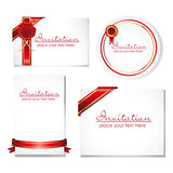 Collection of card note with ribbon Royalty Free Stock Images