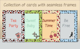 Collection of Card postcards Frames Made of Seamless Patterns. Royalty Free Stock Photography