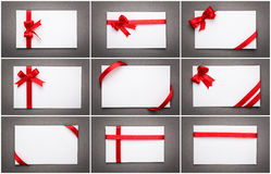 Collection of card with red ribbon bow Royalty Free Stock Photo