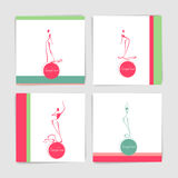 Collection of card with stylized silhouettes of dancing women in Stock Photography