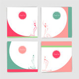 Collection of card with stylized silhouettes of women in long ev. Ening dresses, element of the logo.Set of fashion dancing models silhouettes. Vector Royalty Free Stock Images