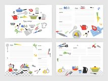 Collection of card templates for making notes about preparation of food. Blank recipe book or cookbook pages decorated. With colorful kitchen utensils and Royalty Free Stock Photography