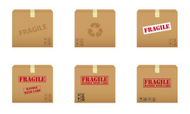 Collection of cardboard boxes. Collection of six cardboard boxes Stock Photos