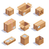 Collection of cardboard boxes Royalty Free Stock Images