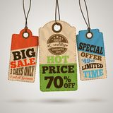 Collection of cardboard sale price tags Stock Photography