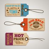 Collection of cardboard sale price tags vector illustration