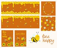 Vector honey banners. Cartoon illustrations. Honeycombs, bees, flowers. Collection of cards, banners, flyer, seamless pattern, royalty free illustration