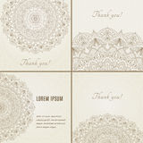 Collection of cards with complex, detailed mandala Stock Image
