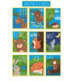 Collection of cards with cute forest animals, vector illustrations with owl, bear, hedgehog, deer, squirrel, wolf, hare. Fox, beaver, design element for banner Royalty Free Stock Image