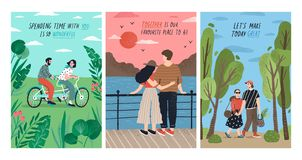 Collection of cards with cute romantic couples on date riding tandem bicycle, watching sunset, walking. Set of postcards vector illustration