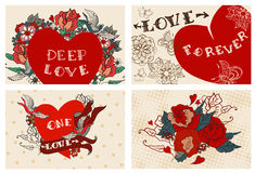 Collection of cards with flowers for Valentine design Royalty Free Stock Photos