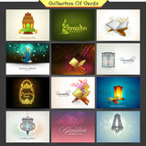 Collection of cards for holy month Ramadan Kareem celebration. Royalty Free Stock Photo