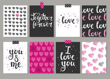 Collection of 8 cards of love design. Valentine's day Posters se Royalty Free Stock Photos