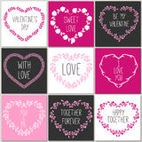 Collection of 8 cards of love design. Valentine's day Posters se Royalty Free Stock Images