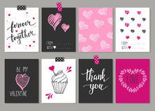 Collection of 8 cards of love design. Valentine's day Posters se Royalty Free Stock Image