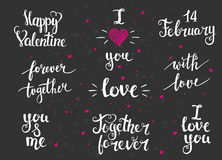 Collection  cards love design. Valentine's day Posters set. Royalty Free Stock Photography