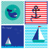Collection with cards in marine style with while, ship and anchor. EPS 10 Royalty Free Stock Photos