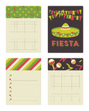 Collection of cards and notes with Mexican ornament illustrations. Stock Photo