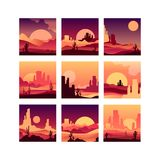 Vector set of cards with sandy desert landscapes with cactus plants, rocky mountains and sunsets sunrises. Design in. Collection of cards with sandy desert royalty free illustration