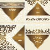 Collection of cards with vintage frames. Retro design stock illustration