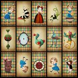 Collection cards Wonderland Stock Photos