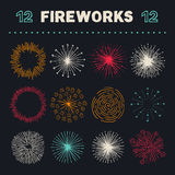 Collection of carefully designed rounded explosions Royalty Free Stock Images