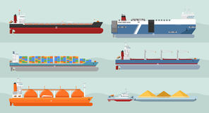 Collection of Cargo Ships Flat Style Illustrations. Set of cargo ships vectors. Flat design. Ferry, container, freighter, bulk, gas carriers, tugboat ships Stock Images