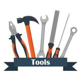 Collection of carpentry, mechanic, locksmith tools. Wrench, screwdriver, hammer, rasp, pliers. Vector illustration, isolated. Collection of carpentry, mechanic Royalty Free Stock Photography