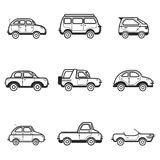 Collection of cars and trucks illustration Stock Photography