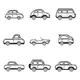 Collection of cars and trucks illustration Stock Images